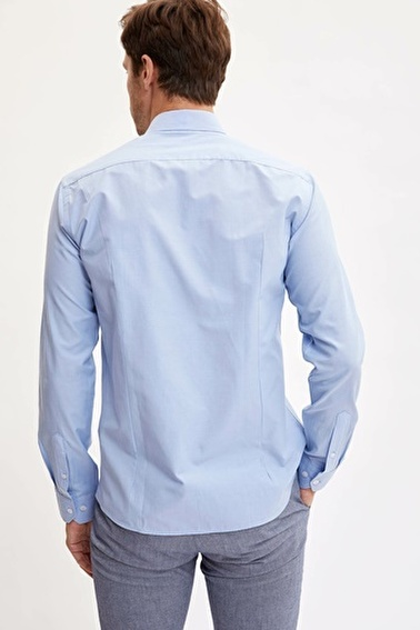 DeFacto Uzun Kollu Slim Fit Gömlek Mavi
